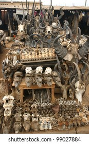 Thousands of animal parts line the fetish market at Lome, in Togo Africa, as part of voodoo sacrifices