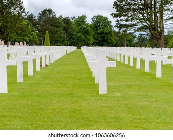 Thousands of crosses in the field of American cemetery of Colleville sur Mer, Normandy, WW2.