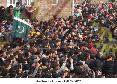 Thousands of Kashmiri Muslim people taking part in the funeral processions of a  local slain rebel of lashker outfit, Basit Ahmad Mir, at his native village khanabal in Anantnag, on 22 November 2018.
