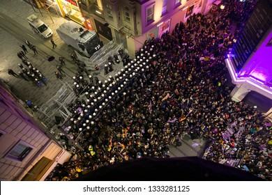Thousands of people attempt to march down Istanbul's famous Istiklal street during a rally for International Women's Day on March 8, 2019 in Istanbul, Turkey.