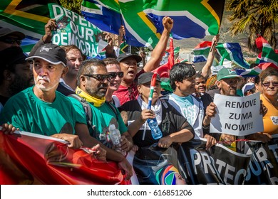 Thousands of people march to Parliament in Cape Town, South Africa,  to demand that the President of South Africa, Jacob Zuma, step down immediately because of his corrupt rule. 7th April 2017.