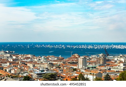 Thousands of sails racing in the Adriatic sea during the Barcolana regatta 2016