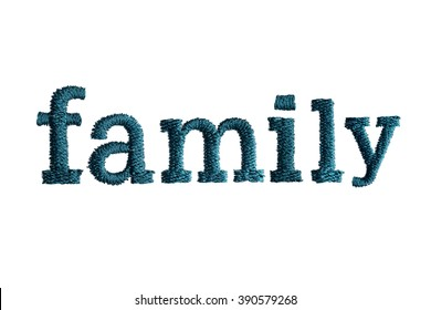thread embroidery word family isolate on white background