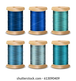 Thread Spool Set. Bright Old Wooden Thread Spool Bobbin. Isolated On White Background For Needlework And Needlecraft. Stock Illustration