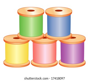 Thread spools in pastel colors: pink, blue, yellow, green, lavender purple, for sewing, tailoring, dressmaking, quilting, needlework, textile arts, crafts, do it yourself hobbies. Isolated on white.