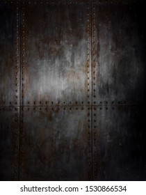 threadbare rusty steel covering with rivet, iron background