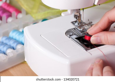 Threading contemporary sewing machine.