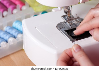 Threading contemporary sewing machine