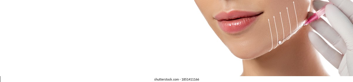 Threadlifting on beautiful female face close up. Procedure mesothreads lifting skin isolated on white. Web banner