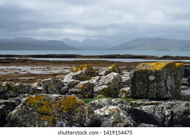Threatening clouds above the beautifull rocks of the Ardnish peninsula on the isle of Skye, the Cuillins, Scotland, United Kingdom