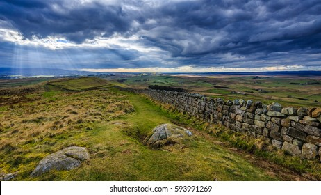 Threatening clouds on Hadrian's Wall path, Northumberland, England