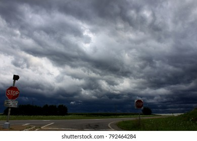 Threatening storm clouds over the landscape of northern Illinois.
