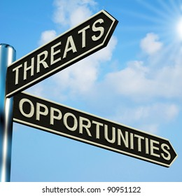 Threats Or Opportunities Directions On A Metal Signpost