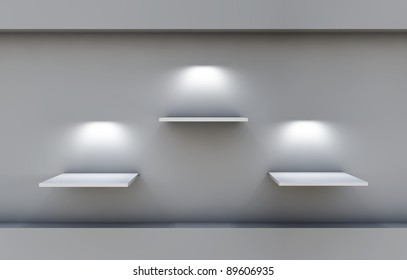 three 3d shelves and spotlights for exhibit in the grey interior