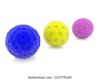 Three abstract balls on white.3d illustration