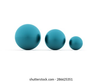 Three abstract spheres rendered