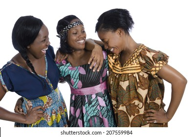 Three african womwn in traditional clothing, Studio Shot