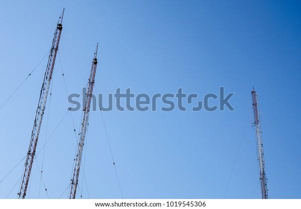 Three Antenna Towers Vhf Radio Station Stock Photo (Edit Now