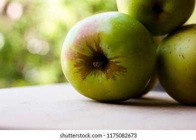 three apples golden delicious closeup