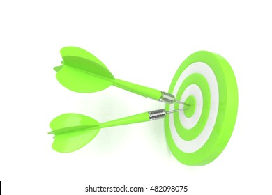 Three arrows darts in center. 3d rendering.
