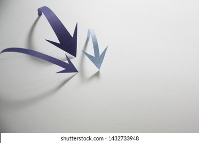 three arrows and shadow pointing the center on white background
