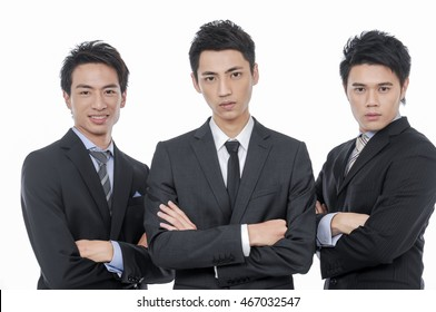 three asian businessmen isolated on white, team of asian businessmen with leader