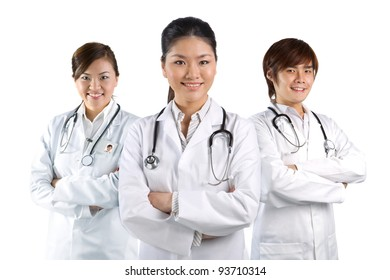 Three Asian doctor wearing a white coats with stethoscope's. Isolated on white.