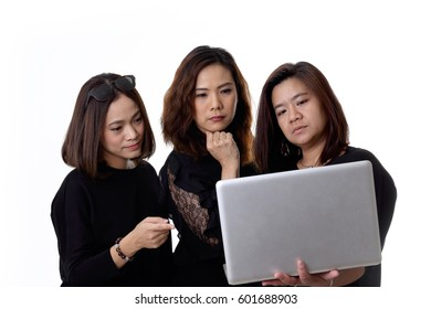 The three Asian woman on the white background.