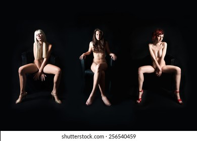 Three attractive nude models in front of dark studio background, their private parts are not visible