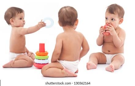 Three babies play on the floor. Montage.