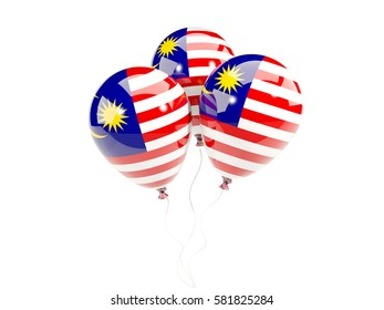 Three balloons with flag of malaysia isolated on white. 3D illustration