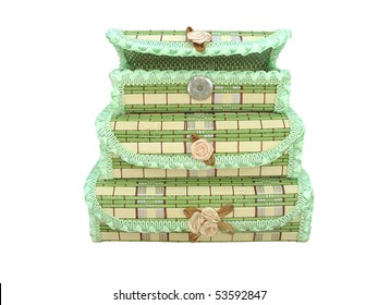 three bamboo boxes