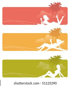 Three banners with silhouettes of a girls in tropics