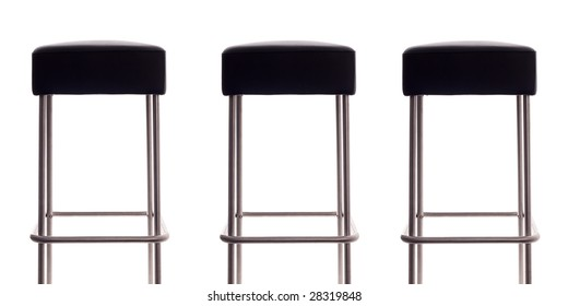 Three bar stools with a white background