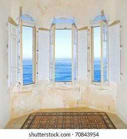Three bay windows (erker) in traditional house on Sliema promenade overlooking the Mediterranean See. Malta
