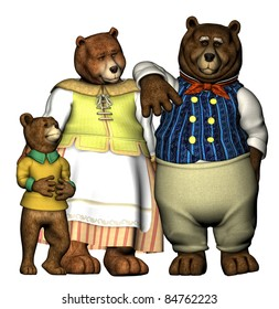 The three bears well dressed in their finest clothing. Momma, Papa and Baby Bear. Isolated on white background. Cutout clip art illustration.