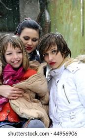 three beautiful girls in winter season