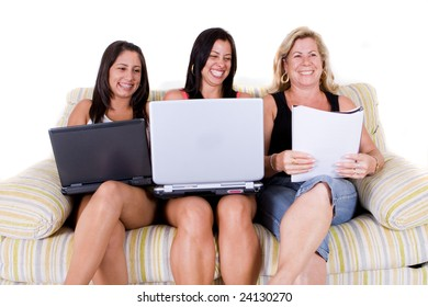 three beautiful woman of same family sitting