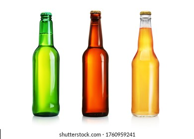 Three beer bottles without label isolated on white background.