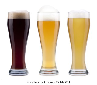 Three beer; objects on white background