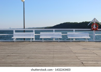 Three benches on the pier