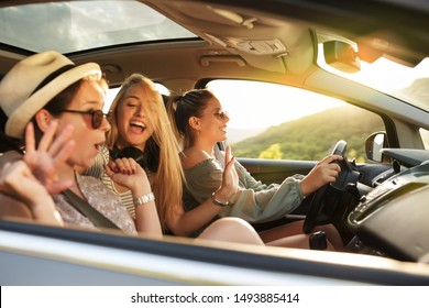 Three best female friends travel together.They drives a car and making fun.Summer adventure..