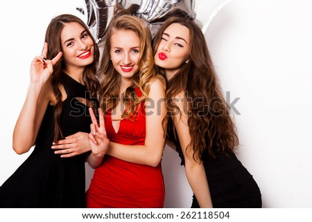 Three Best Friends Celebrate Birthday Indoor Stock Photo Edit Now