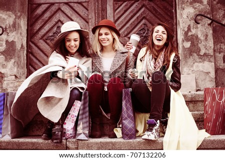 Three Best Friends Enjoying After Shopping Stock Photo Edit Now