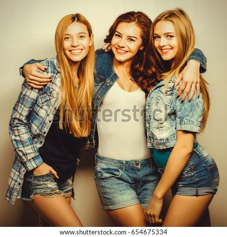 Three Best Friends Posing Studio Wearing Stock Photo Edit Now