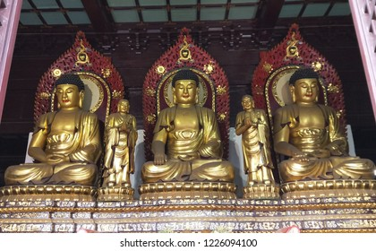 three Bhudda statue in Chinese temple