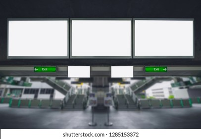 three big blank billboard advertising white LED screen horizontal poster hang over on metro station sky train for design text template promotion new brand display advertisement indoor ads mock up.