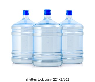 Three big bottles with clean blue water drink isolated