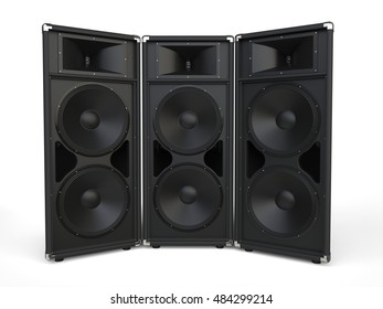 Three big concert horn loudspeakers - 3D Illustration