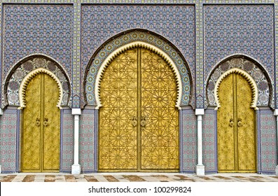 the three big golden doors of the royal palace of Fez, morocco